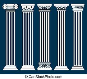 Classic roman, greek architecture columns vector set