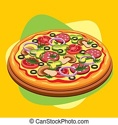 Classic round pizza with sausage, mushrooms, tomato, pepper, olives, cheese and sauce. Vector illustration.