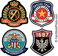classic royal emblem badge shield
