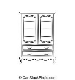 Classic royal ornamented glass closet