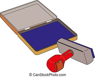 Classic rubber stamp with opened blue ink pad Vector illustration