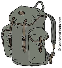 Classic rucksack - Hand drawing of a classic green rucksack