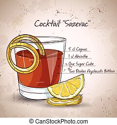 Classic sazerac cocktail with a lemon twist on a light ...