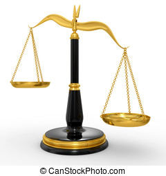 classic scales of justice, isolated on white background
