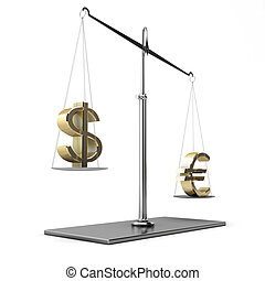 Classic scales of justice with euro and dollar symbols,...