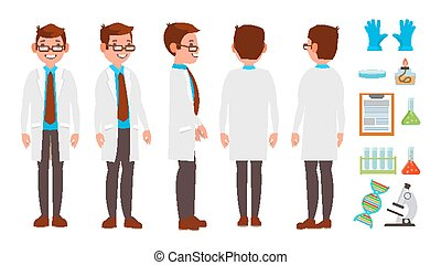 Classic Scientist Vector. Science Experiment. Research And Exploration. Biological Laboratory Worker. Flat Cartoon Illustration