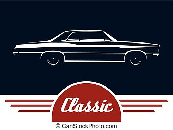 Classic sedan vehicle silhouette - Classic car - sedan...