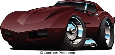 Classic Seventies American Sports Car Cartoon Isolated Vector Illustration