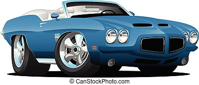 Classic American seventies style convertible, top down, full color, chrome rims, beautiful blue, vector illustration.