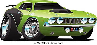 Classic Seventies Style American Muscle Car Cartoon Vector ...