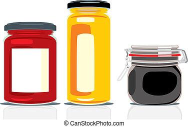 classic shape jam jars - vector illustration of classic...