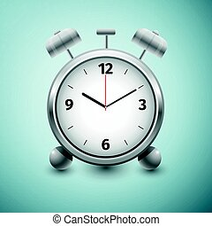 Classic silver alarm clock icon isolated on blue background. Vector Illustration