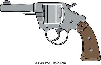 Classic silver revolver