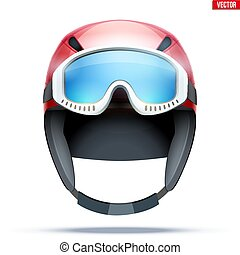 Classic Ski helmet with goggles.