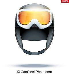 Classic Ski helmet with snowboard goggles.