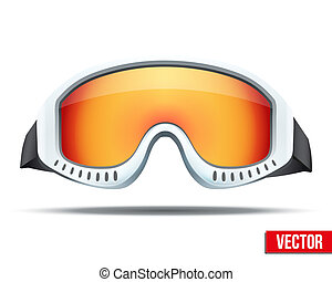 Classic snowboard ski goggles with colorful glass. Vector