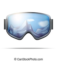 Classic snowboard goggles with big glass and reflecting the winter mountains. Vector isolated on white background