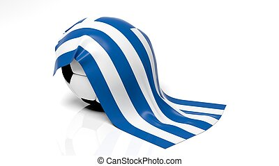 Classic soccer ball with flag of Greece on it.