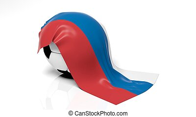 Classic soccer ball with flag of Russia on it.