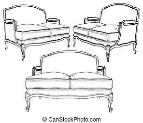 couch drawing. classic sofa - vector couch drawing