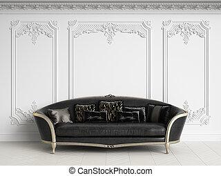 Classic sofa in classic interior with copy space. Black and White Gamma