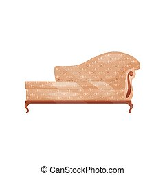 Classic sofa with soft beige trim. Vintage couch for living room. Retro furniture. Antique interior object. Flat vector icon