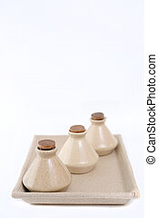 Classic spa clay bottles with cork.