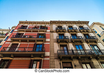 Classic Spanish architecture building on a sunny day.