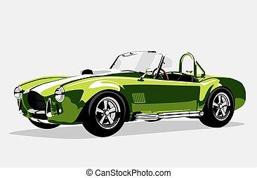 Classic sport green car AC Shelby Cobra Roadster, vector...