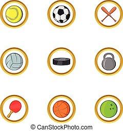Classic sport icon set, cartoon style