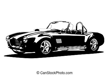 Classic sport silhouette car AC Shelby Cobra Roadster