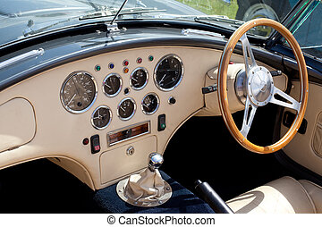 Classic Sports Car Dashboard - Dashboard of a classic...