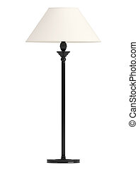 Classic standing lamp with a black base and white shade...