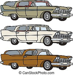 Hand drawing of three classic big american station wagons - any real models