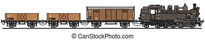 Hand drawing of a classic steam cargo train - not a real model