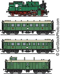 Classic steam train - Hand drawing of a classic green steam...