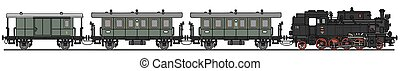 Classic steam train - Hand drawing of a classic steam train...