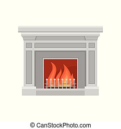 Classic stone fireplace vector Illustration on a white background