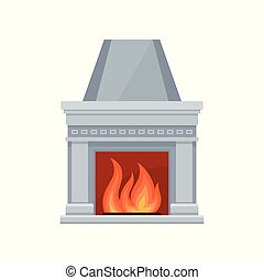 Classic stone fireplace with fire vector Illustration on a white background