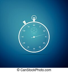 Classic stopwatch icon isolated on blue background. Timer icon. Chronometer sign. Flat design. Vector Illustration