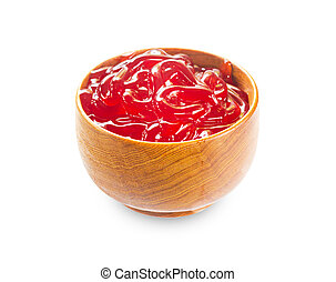 Classic Strawberry Jam in wooden bowl.