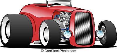 Hot American vintage hot rod hiboy roadster car cartoon. Red, cool stance, low profile, big tires on vintage rims. Very sharp, clean lines, a crisp illustration.