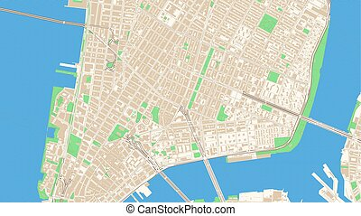 Classic streetmap of Manhattan, New York City