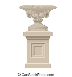 classic style decorative vase, urn planter from sandstone on...
