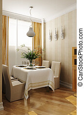 3d rendering of the dining room interior