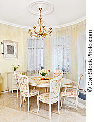 Classic style dining room interior in beige pastoral colors ...
