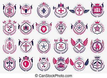 Classic style emblems big set, ancient heraldic symbols ...
