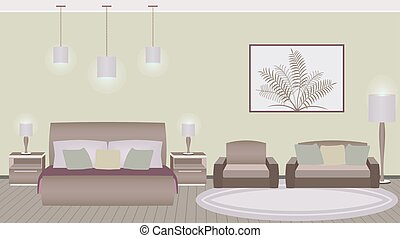 Classic style hotel bedroom interior with furniture