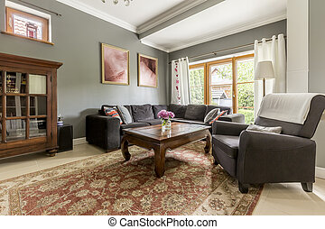 Classic style living room idea - Spacious living room with...