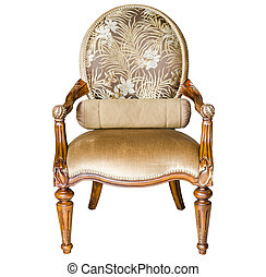 classic style vintage wooden chair and flower on the table